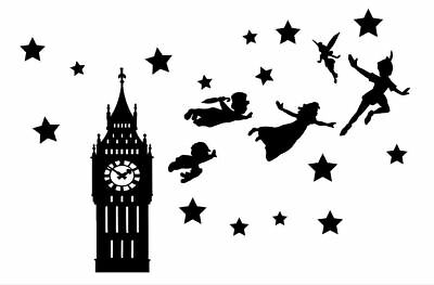 Die Cut Outs Silhouette Big Ben peter pan wendy fairy 6 x set Shapes +Free Stars