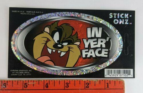 Vintage Tasmanian Devil Looney Tunes In Yer Face Decal Sticker
