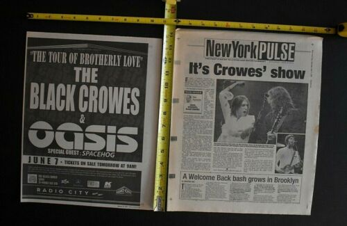 The Black Crowes 2001 2PC Concert Ad and Review Lot Radio City NYC Oasis