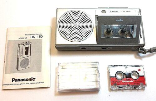 Panasonic RN-150 MicroCassette Recorder Player Vintage Japan w cassette & manual