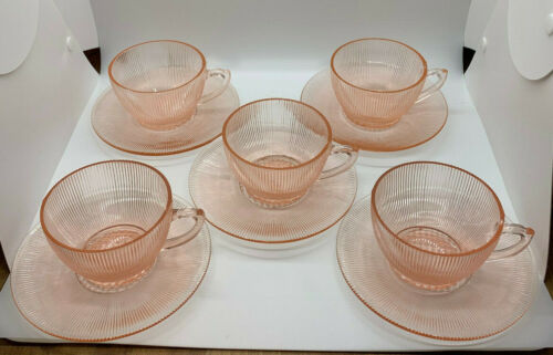 Jeanette Depression Glass Homespun Fine Rib Pink Cup Saucer Set 4 xtra Cup Plate
