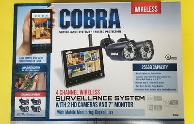 Cobra 4 Channel Wireless Surveillance System 2 Cameras Security Monitor- New