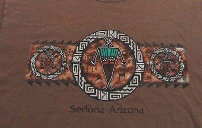 Sedona  Arizona Southwest Tribal Rock Art Vacation Brown Ss T Shirt Size S