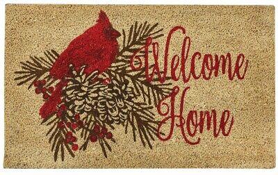 Welcome Home Cardinal Doormat Outdoor Natural Coir Vinyl Back Christmas Pinecone