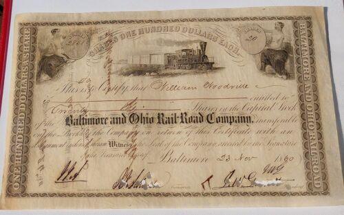 Rare Civil War Era B&O RR Stock Cert, Signed by John W Garrett, Get One Free!