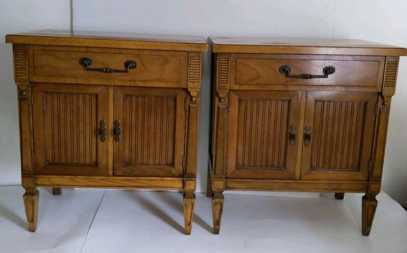 Vintage Pair of Wood End Tables with Doors/Storage/Drawer - Neoclassical Style