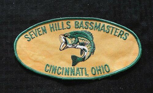 "c.1974 ""SEVEN HILLS BASSMASTERS CINCINNATI OHIO"" BASS FISHING LARGE 8"" PATCH"