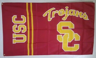 USC Trojans Banner 3x5 Ft Flag Man Cave Decor Sports Gift NCAA Free - Usc Decorations