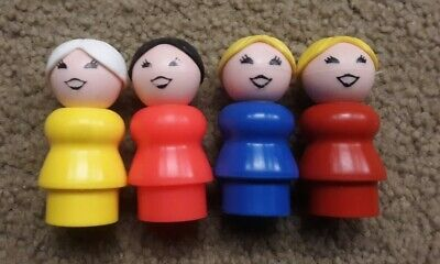 Vintage Fisher Price Little People Women/Moms/Grandmas Yellow/Red/Blue, Lot of 4