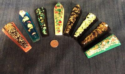 8 Unique Vintage Colorful Filled Acrylic Lucite Chopstick Rests