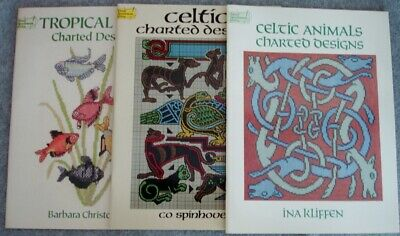 Lot of (3) Dover Needlework Series Cross Stitch Pattern Books Celtic & Fish