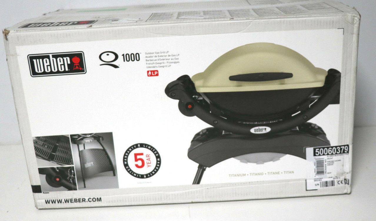 Weber Q 1000 Stand Titan Gasgrill Tisch-Grill Camping Piezo-Zündung titan NEU