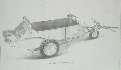 Ih Farmall Mccormick 100-h Horse Drawn Manure Spreader Parts Owners Manual
