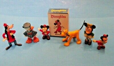 SET of of SIX Marx Disneykins, 1960's with Minnie Mouse, Pluto, Donald, MORE!