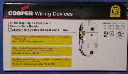 COOPER  TR270W  SAFETY PLUG,  DUPLEX  RECEPTACLES  15A, 125V  10-Pack