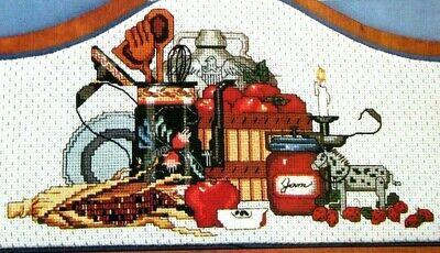 County Still Life Fall Corn Apples Jam Jar Cross Stitch Pattern