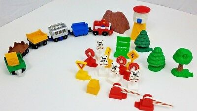 Geotrax LOT of 25 Pieces Fisher Price Accessories Signs Trees Mountain Trains