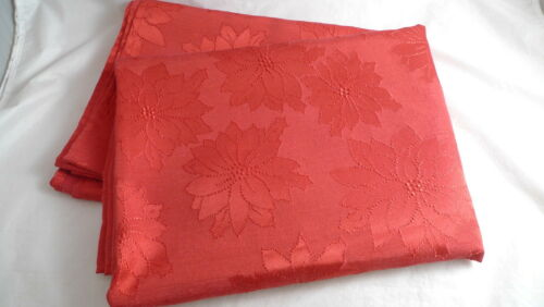 Red Damask CHRISTMAS TABLECLOTH Poinsettia Design Red-On-Red 60x84