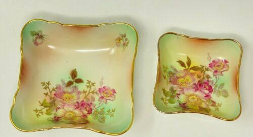 HOUSE OF GOEBEL PORCELAIN SMALL/LARGE NUT/SNACK DISH WILD ROSE BAVARIA W. GERMAN