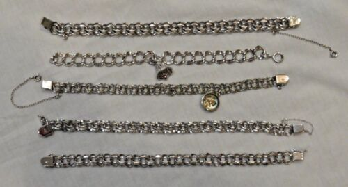 Group of Five (5) Sterling Silver Starter Chain Bracelets