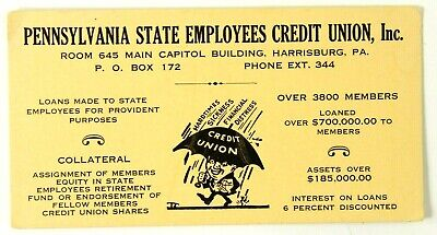Vtg Pennsylvania State Employees Credit Union Ink Blotter Harrisburg PA c1940's