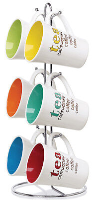 Home Basics NEW 11oz Mug Mugs Tea Coffee Cappuccino Colorful 6 Piece Set MS30083