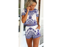 Blue & White Detailed Two Piece