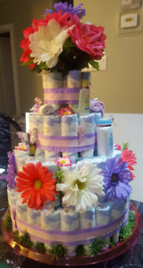 4 Tier Baby Girl Diaper Cake