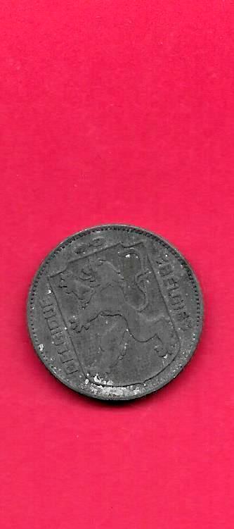 BELGIUM BELGIAN KM127 1941 VF-VERY F INE-NICE OLD VINTAGE WWII ZINC FRANC COIN