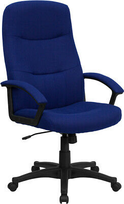 High Back Navy Fabric Office Desk Chair W Padded Arms Adjustable Seat Height