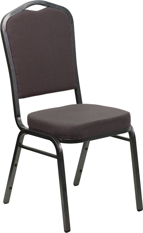 Lot Of 100 Gray Fabric Crown Back Steel Frame Banquet Stack Chairs