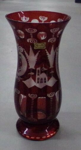 "10.5"" VASE Deer & Castle Ruby Red Cut to Clear Bohemian Glass Egermann"