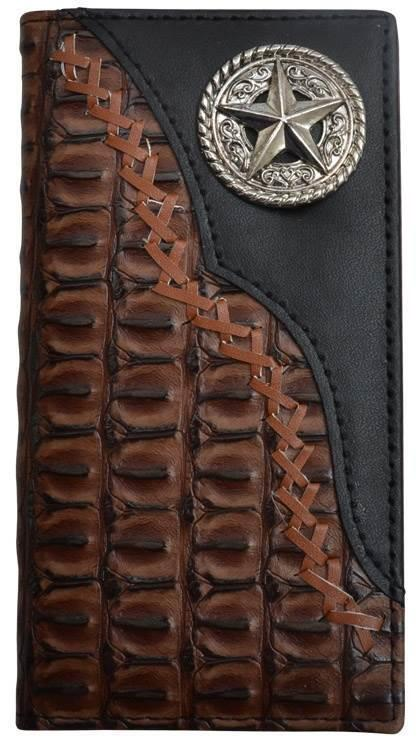 3D Western Boys Youth Wallet Rodeo Gator Overlay Laced Star Concho Brown W0103