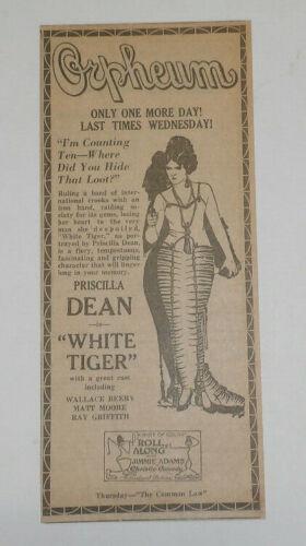 """Priscilla Dean """"White Tiger"""", 1924 Original Newspaper Movie Ad"""