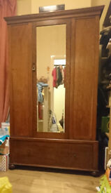 Victorian wardrobe with full length mirror and large drawer