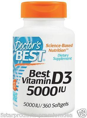 Doctor's Best Best Vitamin D3 Cholecalciferol Supplement 5000 IU 360