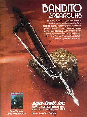 1979 Aqua Craft Inc PRINT AD features the Bandito Speargun SCUBA Dive Diving (Bandito Spearguns)