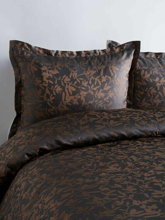 Ann Gish Willow Steel Grey / Mocha 100% SILK ONE King Pillow Sham Bedding