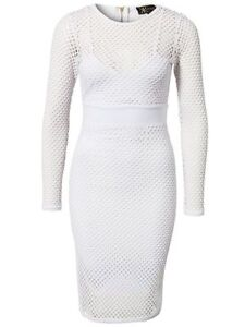 Long sleeve white fishnet sheath dress