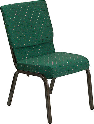 Lot Of 100 18.5w Green Patterned Fabric Stacking Church Chair- Gold Vein Frame
