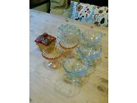 Vintage kitchen bits , sundae glasses , jam pot and jelly mould