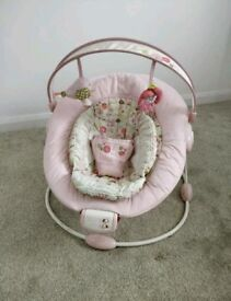 Bright Starts Vintage Garden Baby Pink Bird Flowers Baby Rocker Bouncer Chair