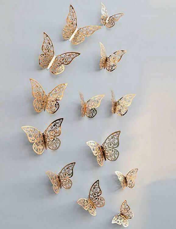 Home Decoration - 12 Gold Butterfly Wall Stickers, 3D Metallic Decals Home Room Decorations Decor