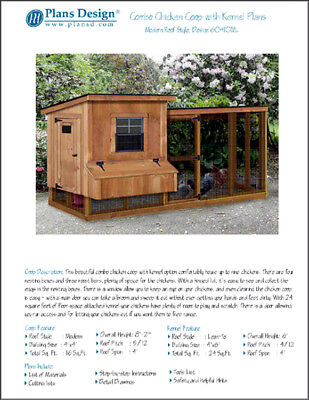 Backyard Chicken Coop Plans With Kennel Run Modern Lean-to 4 X 10 Two-in-one