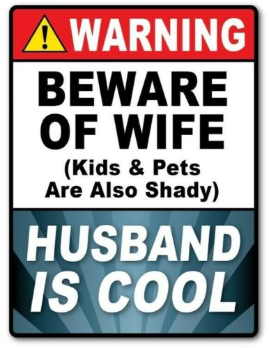 2 - Warning HUSBAND COOL STICKER Decal Room Sign Man Cave Garage Shop FUNNY GIFT