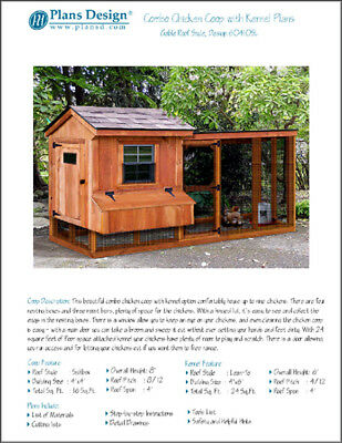 Backyard Chicken Coop Plans With Kennel Run Saltbox Lean-to 60410sl