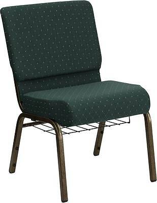 Lot Of 50 21w Green Pattern Fabric Stacking Church Chairs Cuprack Gold Frame