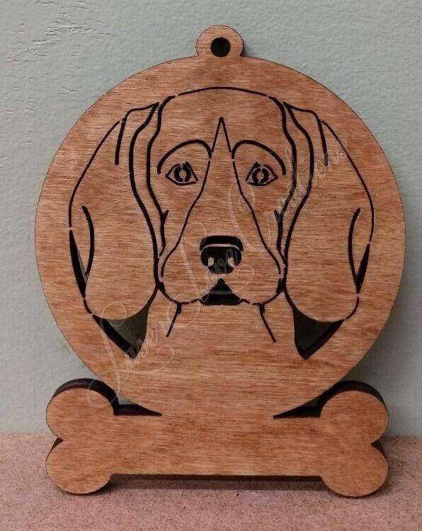 Beagle dog ornament custom cutout wood