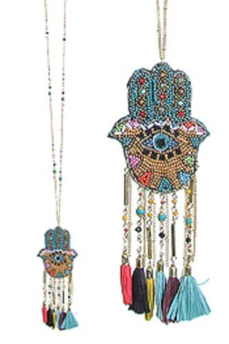 Handmade Seed Bead Hamsa Hand Eye Pendant And Tassel Long Necklace