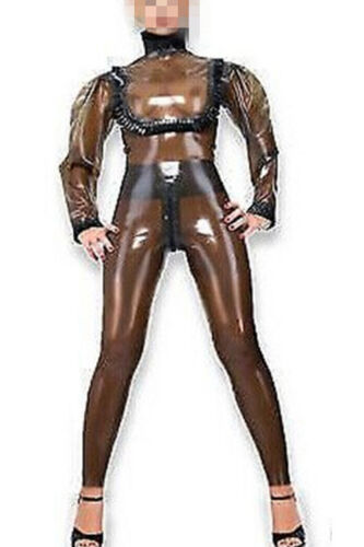 Latex Tights Catsuit 100% Rubber Smoke Grey with Black 0.4MM Party